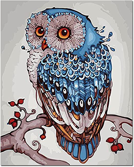 Rainbow Owl 16X20 Inch Acrylic Paint by Number Kit On Canvas for Adults Beginner Framless YXQSED