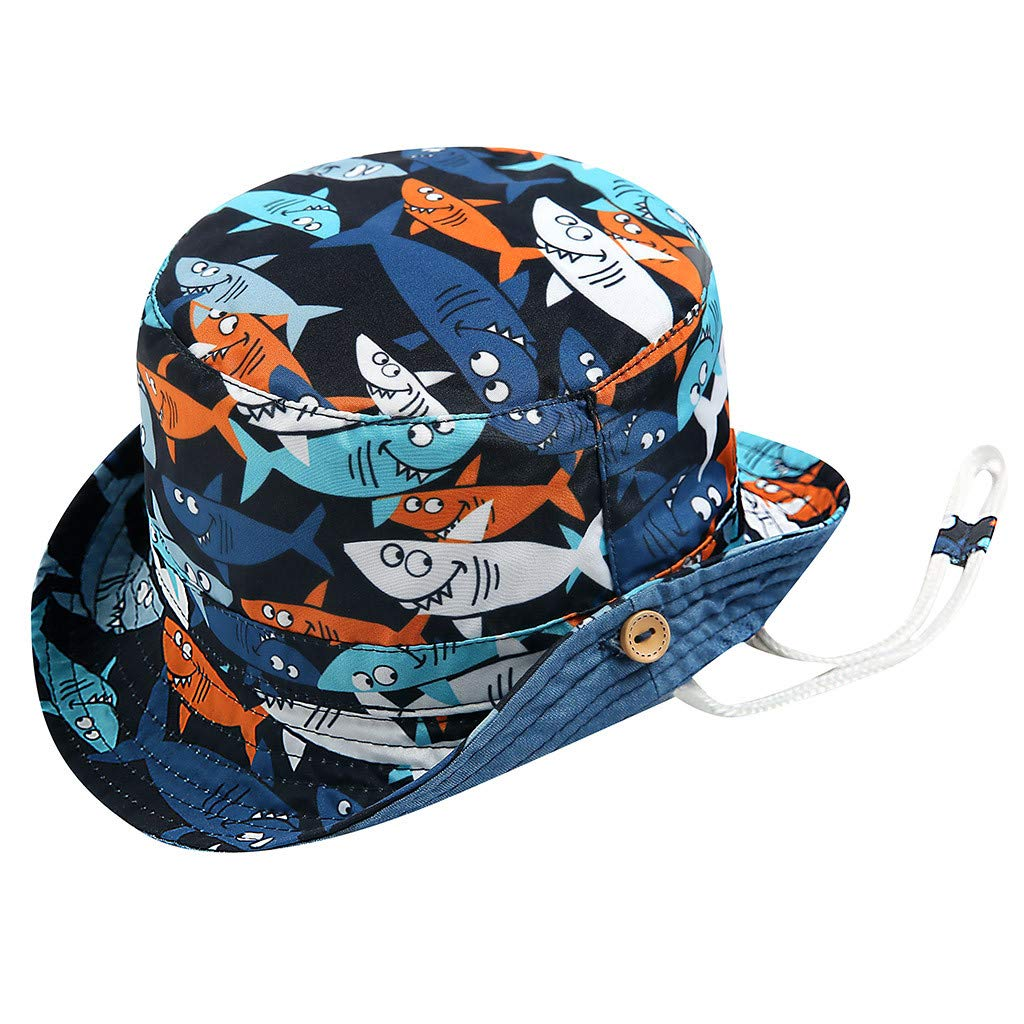 9624f4de Amazon.com: Botrong Kid Baby Boy Girl Cartoon Beach Adjustable Chin Strap  Sun Protection Bucket Hat for 3 Months-5 Years Blue: Clothing