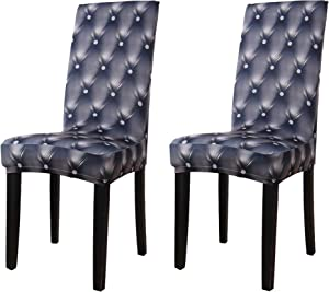 YIMEIS Comfort Stretch Dining Room Chair Covers, 3D Printed Spandex Dining Chair Protector, Removable Washable Short Dining Chair Seat Covers for Dining Room, Kitchen, Party, Bar (Pack of 2, D_Grey)