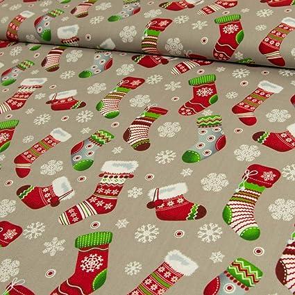 Tela de algodón Calcetines de Navidad copos de nieve gris – Precio de 0,5