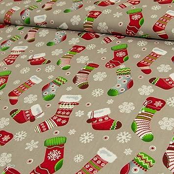 Stoffe Werning Baumwollstoff Weihnachten Socken Schneeflocken grau ...