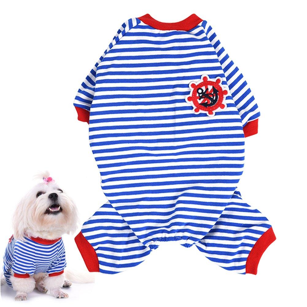 awhao Pet Pajamas Dog Stripes Jumpsuit Pyjamas Coat Clothes Black M