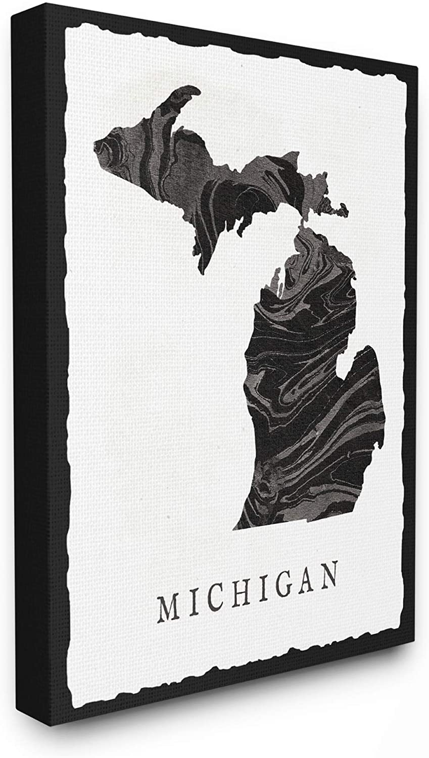 Stupell Industries Black and Grey Marbled Paper Michigan State Silhouett, 24 x 30, Multi-Color