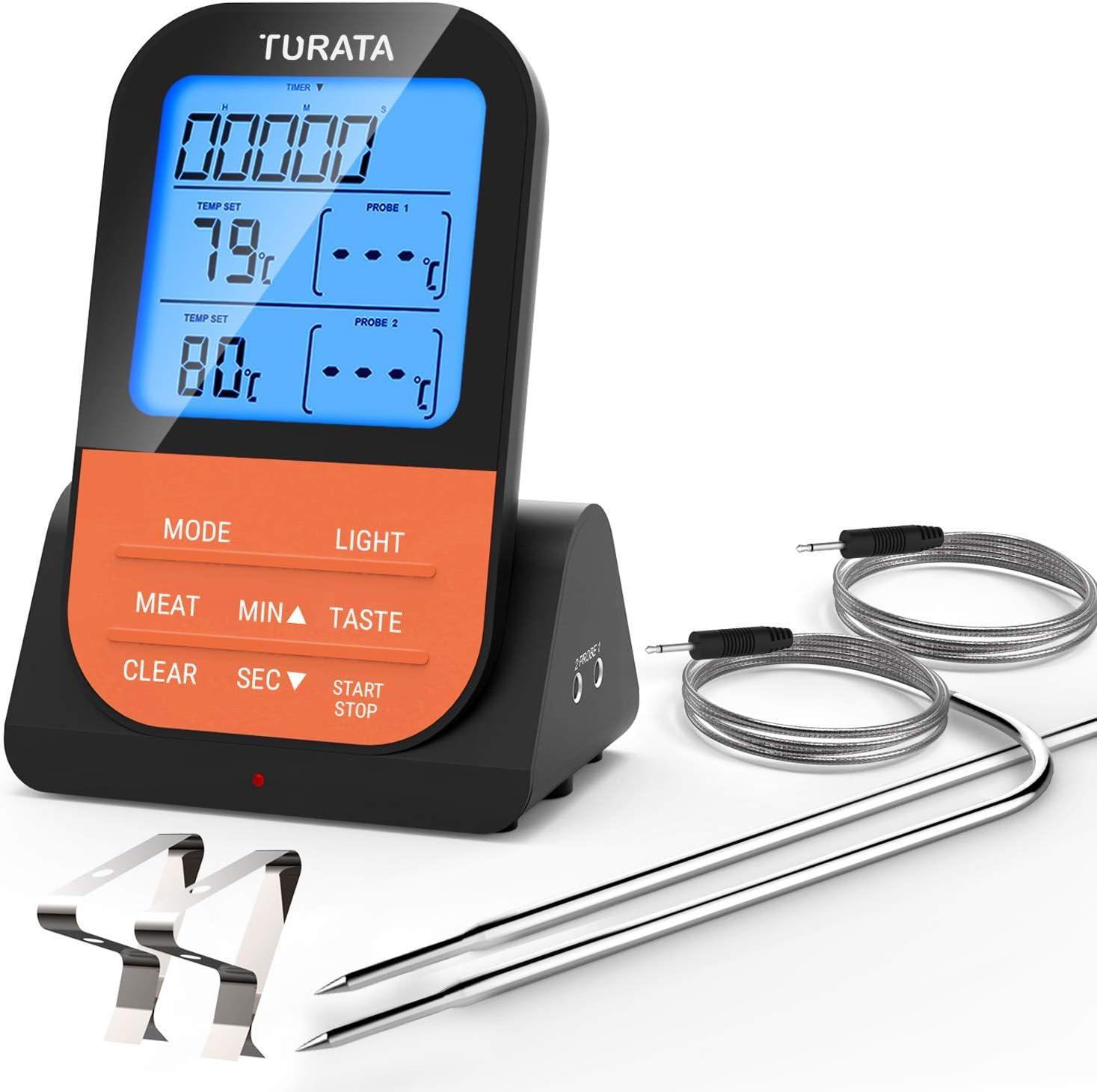 WULAU Termómetro para Barbacoa Digital inalámbrico para Carne, termómetro para Horno con Temporizador/Alarma y sonda de Carne Inteligente para Barbacoa,Parrilla y ahumador (Dos sondas)