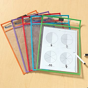 Amazon.com : Write And Wipe Pockets : Dry Erase Worksheet : Office ...