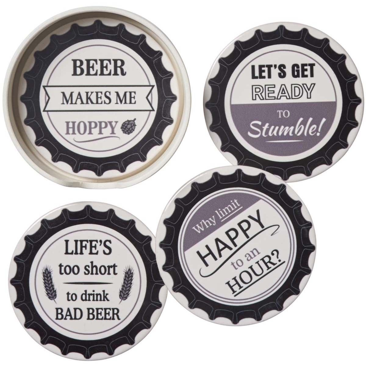 Coasters Pack of 6 with Chrome Holder Metal Smiley or Cup Coasters Black or White Babavoom Black Smiley Face Coasters