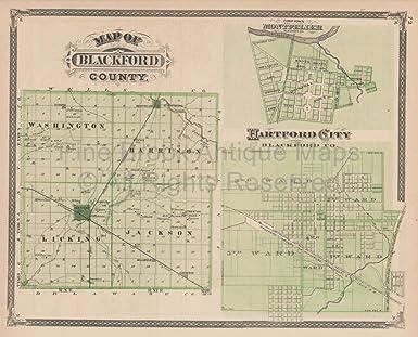 Amazon Com Blackford County Camden Dunkirk Indiana Vintage Map