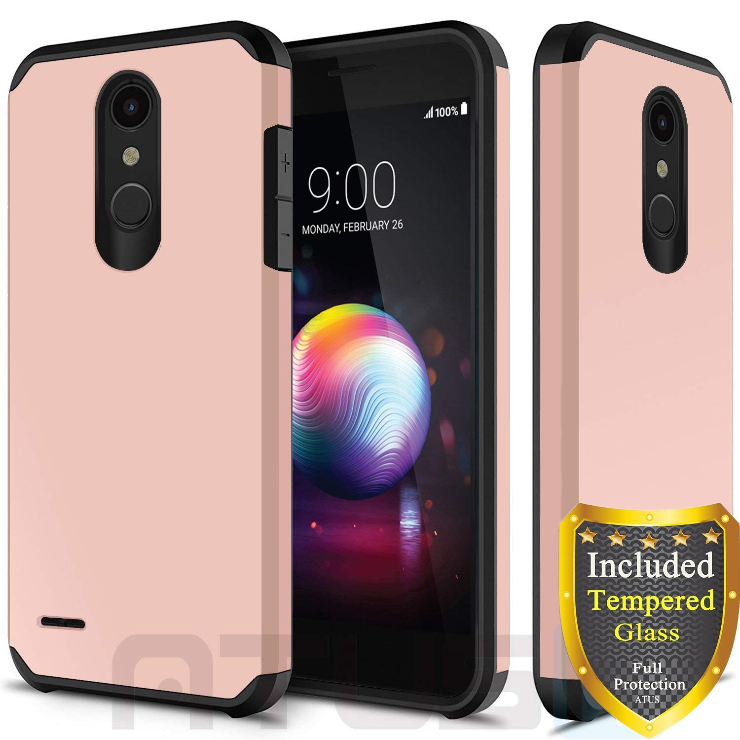 LG K30, LG Harmony 2, LG Phoenix Plus, LG Premier Pro, LG Xpression Plus, LG K10 2018 Case, with Full Cover Tempered Glass Screen Protector, ATUS Hybrid Dual Layer Protective TPU Case (Rosegold)