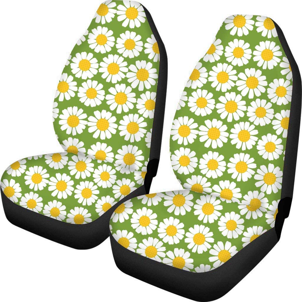 HUGS IDEA Daisy Grey Auto Seat Protector 2 Packs Car Interior Front Seat Covers Universal Fits for Vehicles Sedan and Jeep