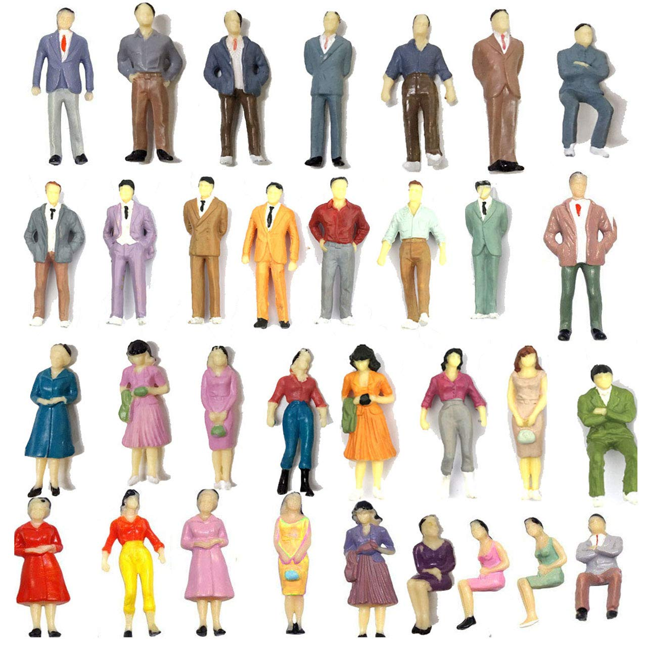 Gdaya 100PCs Model Trains Architectural 1:50 Scale Painted Figures O Scale Sitting and Standing People for Miniature Scenes