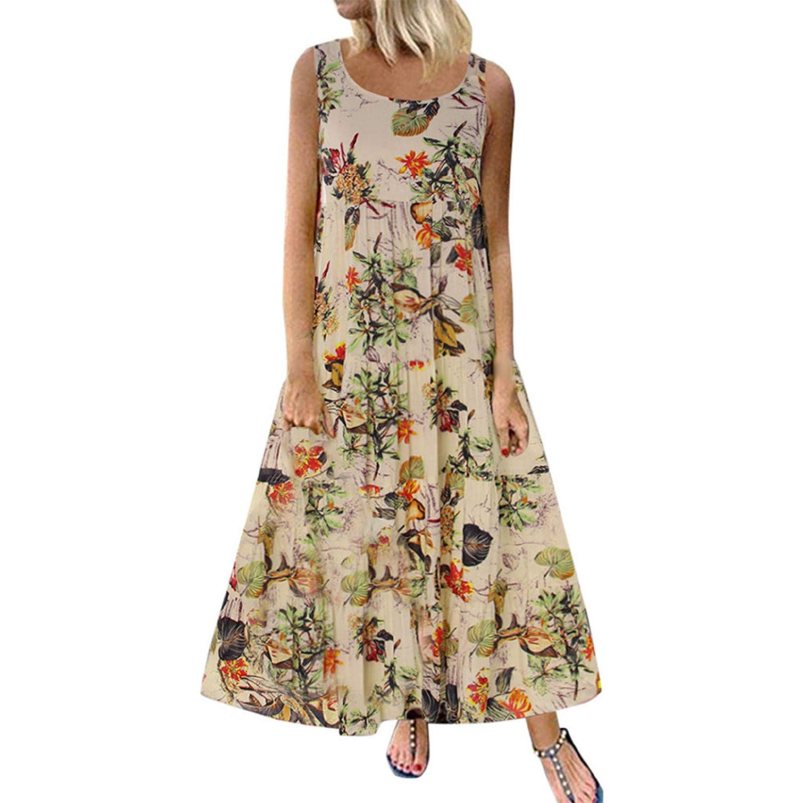 Women Vintage Casual Home Maxi Dress Cold Shoulder Floral Printed Dresses Sleeveless Casual Summer Pleated Long Dress Beige