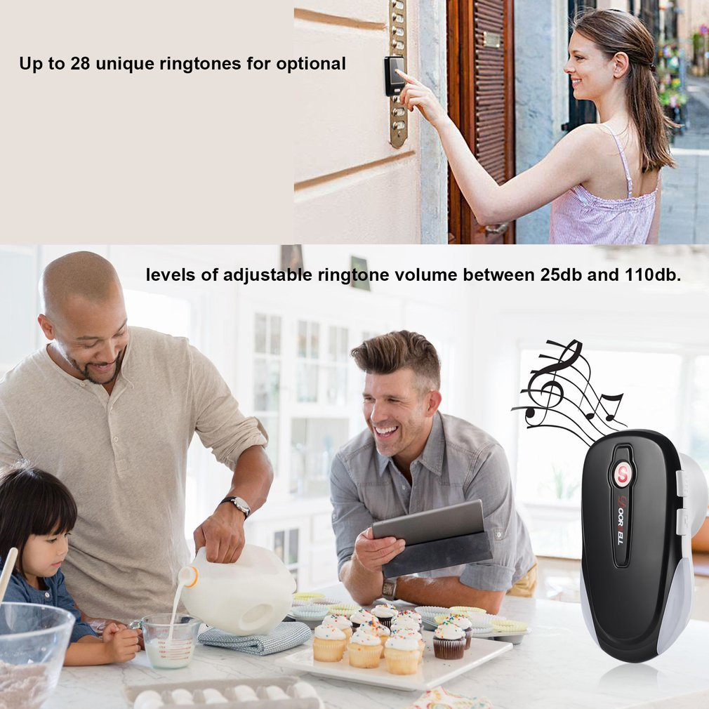 MIGVELA Wireless Digital Doorbell Kit, 1 Transmitters & 1 Receiver, Door Ring Bells with Waterproof Touch Button, 28 Chimes, 4 Level Volume, LED Indicator, Black