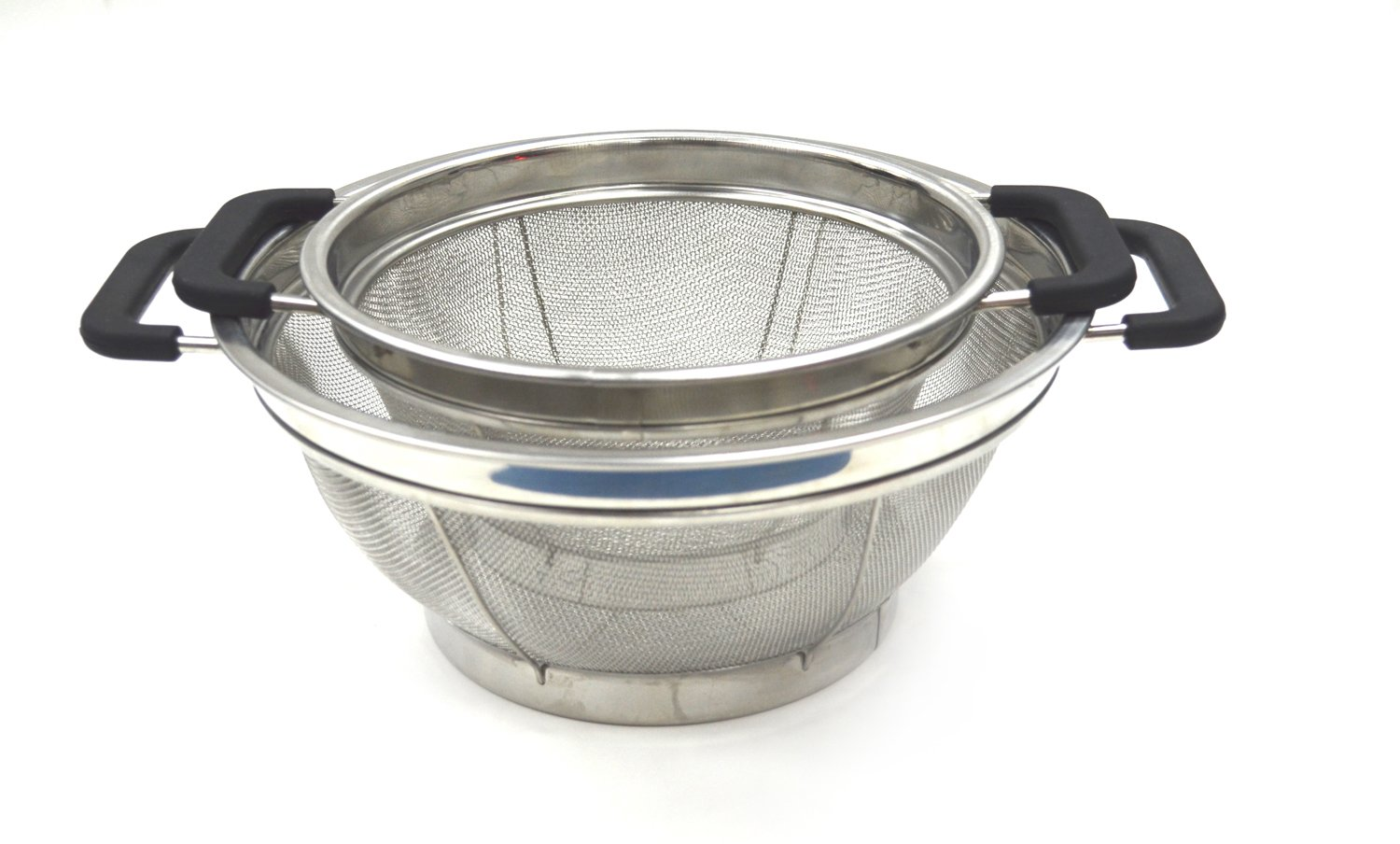 SAMMART Set of 2 Stainless Steel Mesh Colander with Black Silicone Handle - Strainer for Pasta, Noodle and Fruits