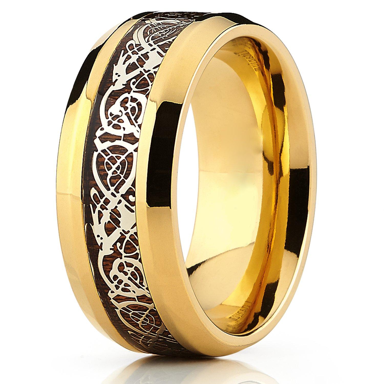 Ultimate Metals Co 9mm Bague De Mariage En Titane Or Avec