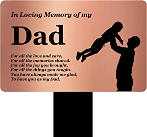 OriginDesigned in Loving Memory of My Dad - Engraved Memorial Stake with Poem and Illustration (Gold/Silver/Copper or Black & White Plaque) (Copper)