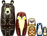 Nesting Dolls Russian Matryoshka Wood Stacking Nested Dog Set for Kids