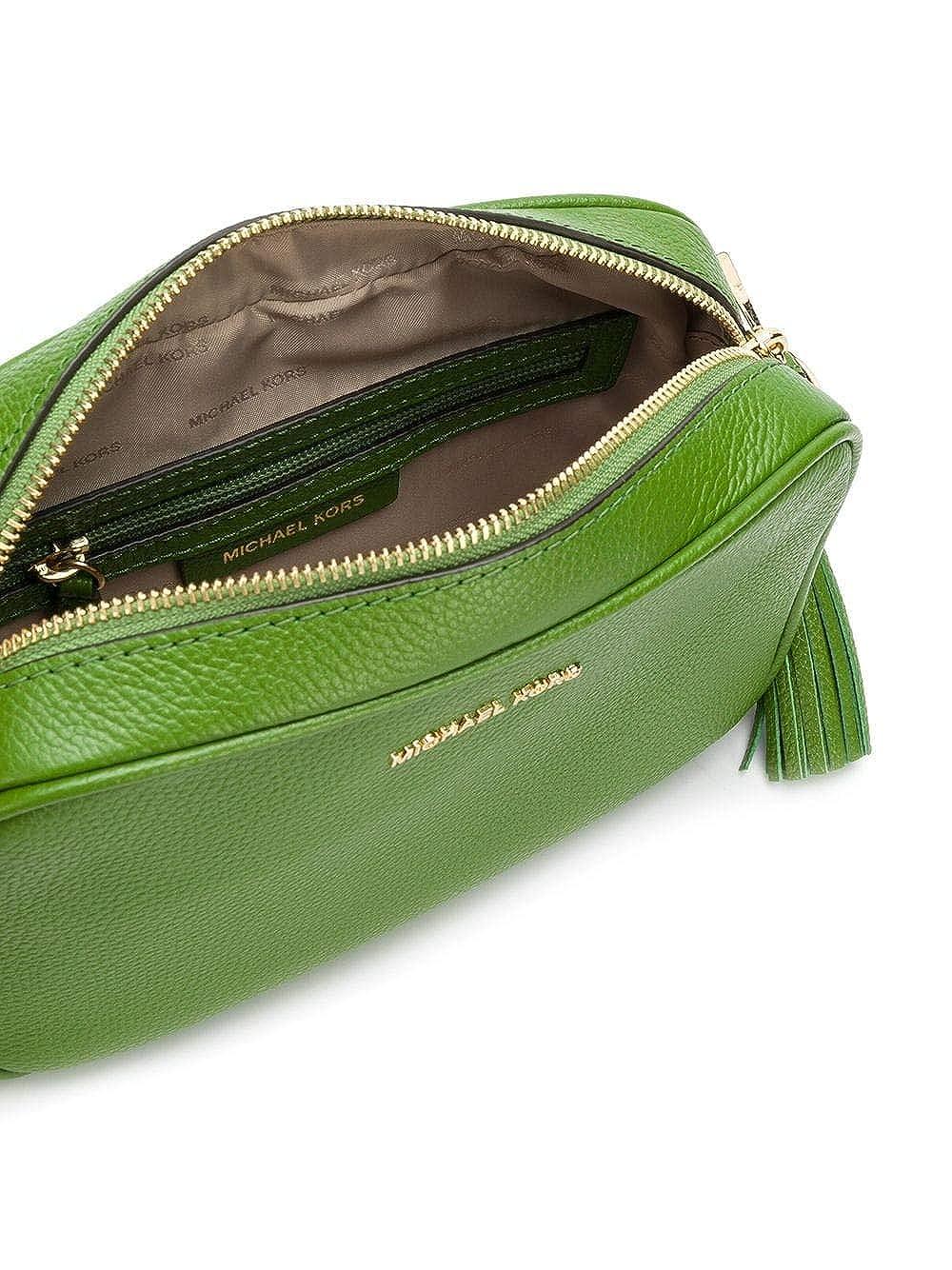 6fb84a12989612 Michael Kors Ginny Medium Leather Camera Crossbody Bag - True Green:  Handbags: Amazon.com