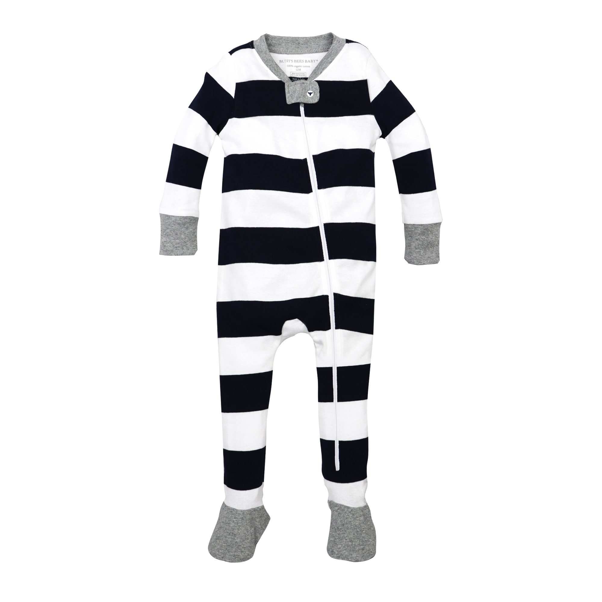 Burt's Bees Baby Baby Boys' Pajamas, Zip Front Non-Slip Footed Sleeper Pjs, 100% Organic Cotton, Midnight Rugby Stripe, 18 Months