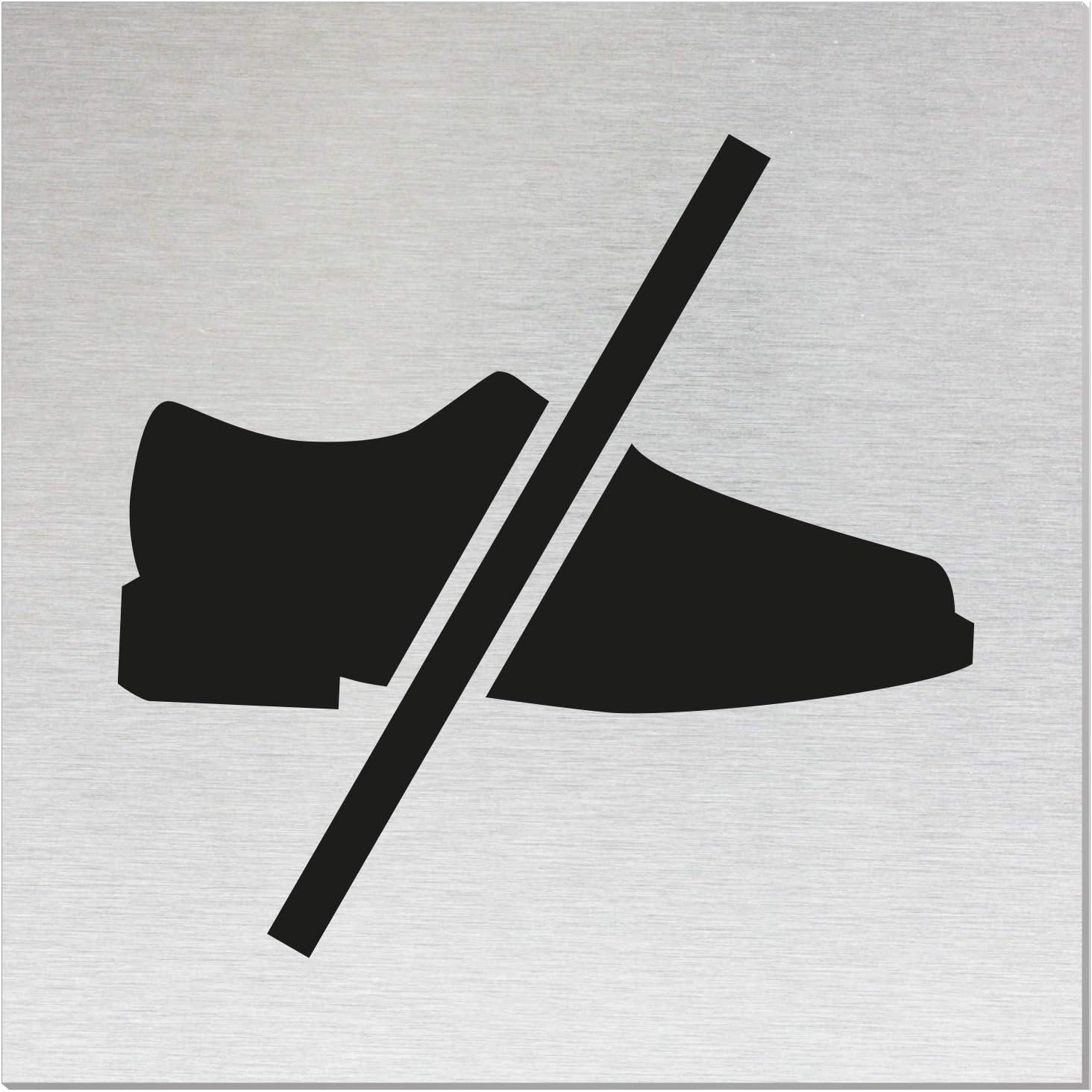 OFFORM Plaque de Porte en Aluminium bross/é l Chaussures Interdits l 120x120mm l No.17164-S