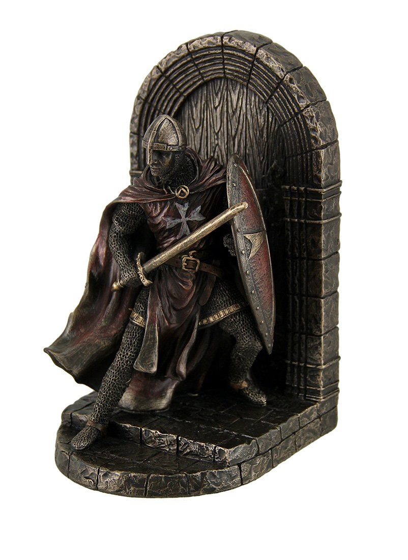 Maltese Crusader Statue in Armor Guarding Door Holding Shield & Sword Bookend Veronese