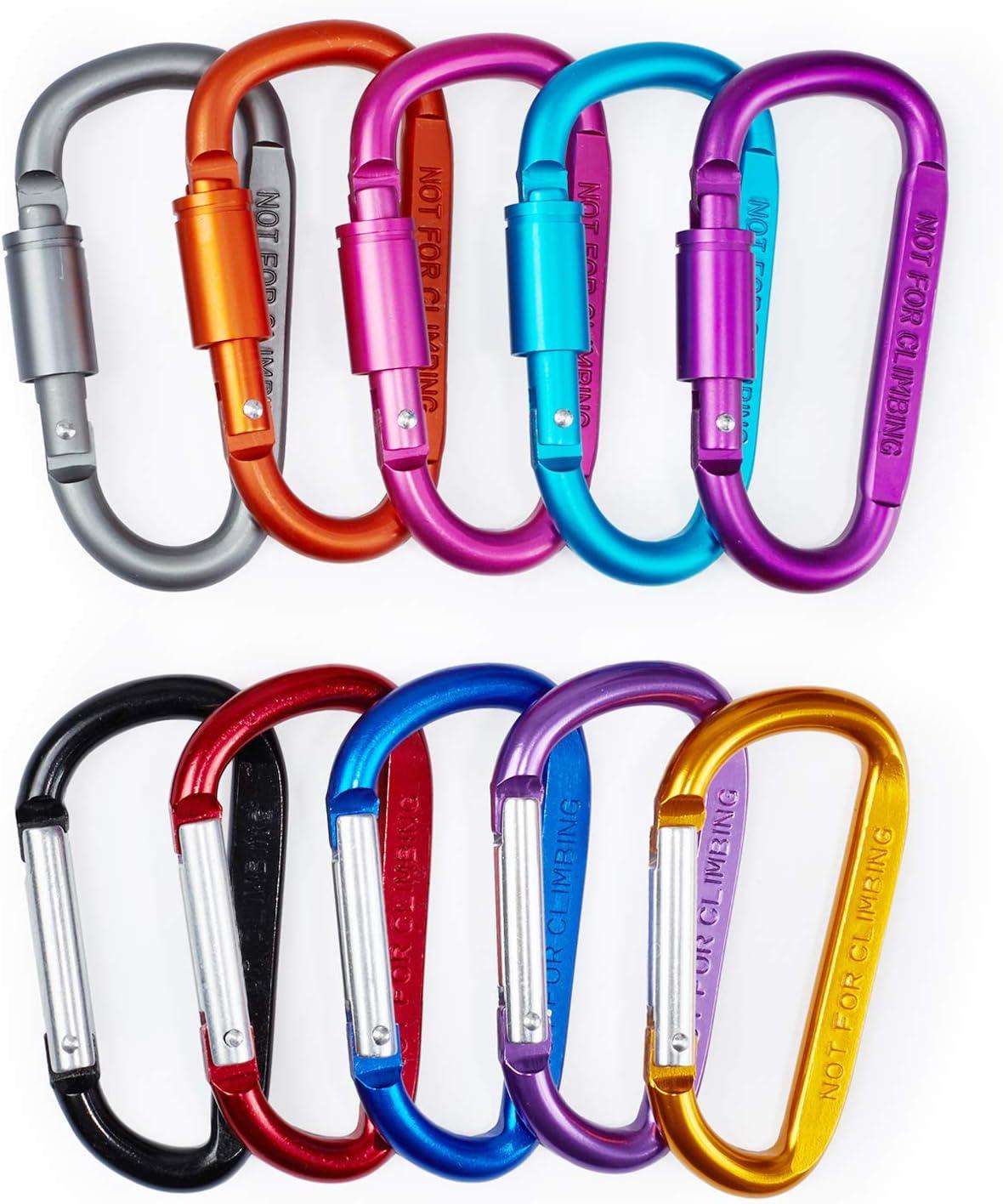 "MODENGKONGJIAN Aluminum Carabiner D Shape Buckle Pack, Keychain Clip, Spring Snap Hook Screw Gate Buckle, 3"" D-Ring Locking Key, Camping Climbing Hiking Keychain (10 PCS)"