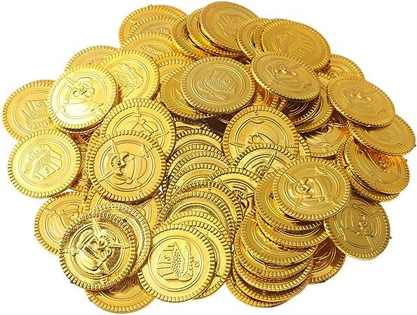 Beyond Dreams 150 Monedas de Juguete para niños | Tesoro de Oro para Fiesta Pirata | Dinero Falso de Juguete | Juguetes Aptos como obsequio en cumpleaños, Navidades: Amazon.es: Juguetes y juegos