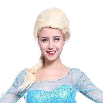 Anladia - Larga Peluca Rubia disfraces de Frozen Snow Queen Princess Elsa Peluca de Elsa Frozen