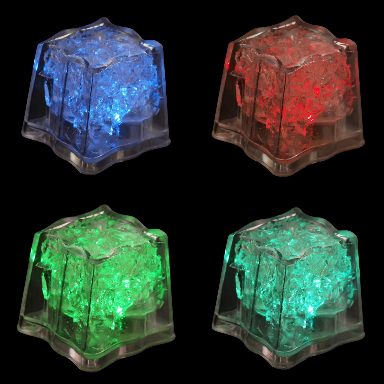 """Pubs CIL-CL-12PK 1/""""x1.3/"""" Plastic Flashing Switch Decorations for Drinks Novelty for Cocktails Lounges Glow in The Dark 12 Pack Parties Blinking Light Up Cube Houseables LED Ice Cubes Bars Multi Color"""