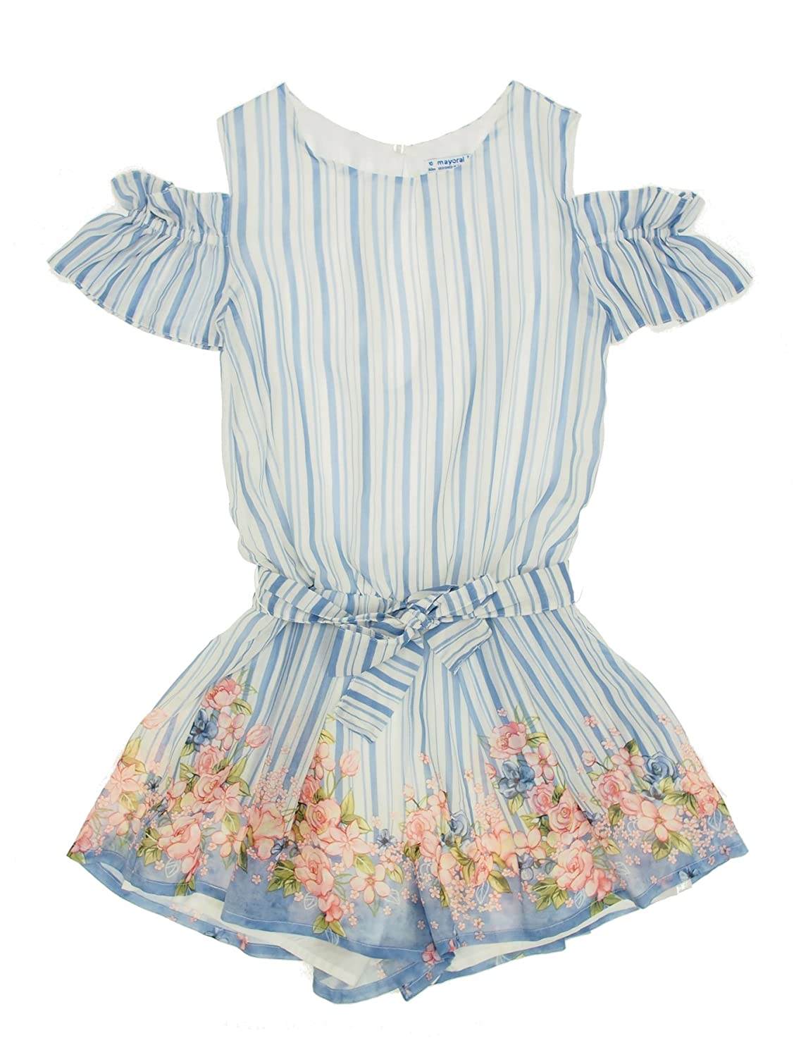 d530a90c30 Mayoral 28-06802-019 - Flowers Stripes Romper For Girls 14 Years Blue   Amazon.co.uk  Clothing