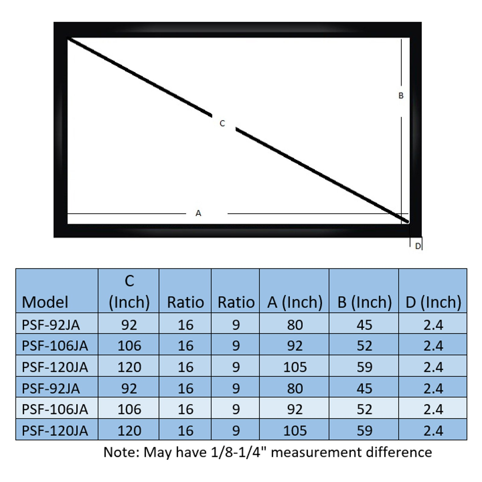 Antra PSF-106JAG 16:9 Fixed Projector Projection Screen (6 Piece Frame) PVC material 3D HD Compatible for Home Theatre Office Presentation (16:9 106'', Matt Grey)