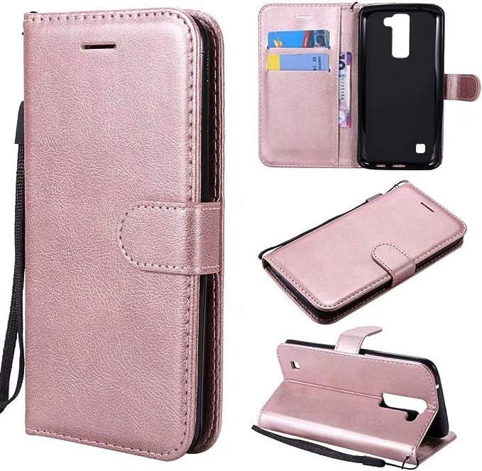 SANHENGMIAO STORE para Celular LG para LG K7 / K8 Funda de Soporte de Billetera con Pulgar de Cuero sólido Color sólido de PU con Correa de muñeca (Color : Oro Rosa):