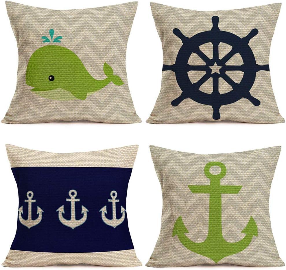 "Asminifor 4Pcs Ocean Nautical Theme Throw Pillow Covers Cotton Linen MarineAnimalWhale with Rudder BoatAnchorCoastal Pillowcase Square Sea Cushion Case Decor Home Sofa 18""x18"" (ON-Ocean)"