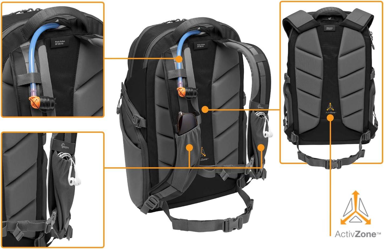 Canon Dron Objetivos Gimbal Sony DJI Lowepro LP37259-PWW Photo Active Tablet 12//iPad// Hidr.2L Azul//Negro Nikon Mochila para c/ámara exterior sin espejo con divisores QuickShelf