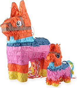 Donkey Pinatas - 2 Sizes Mexican Pinatas with Hanging Loop (13 x17 in)- Colorful Festival Party Supplies Favor for Fiestas, Cinco de Mayo Decorations, Mexican Themed Party