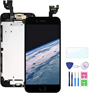 Comfine Screen Replacement for iPhone 6 Black with Home Button, LCD Touch Screen Digitizer Replacement Display Assembly Front Camera, Ear Speaker and Sensors, Repair Tools and Screen Protector
