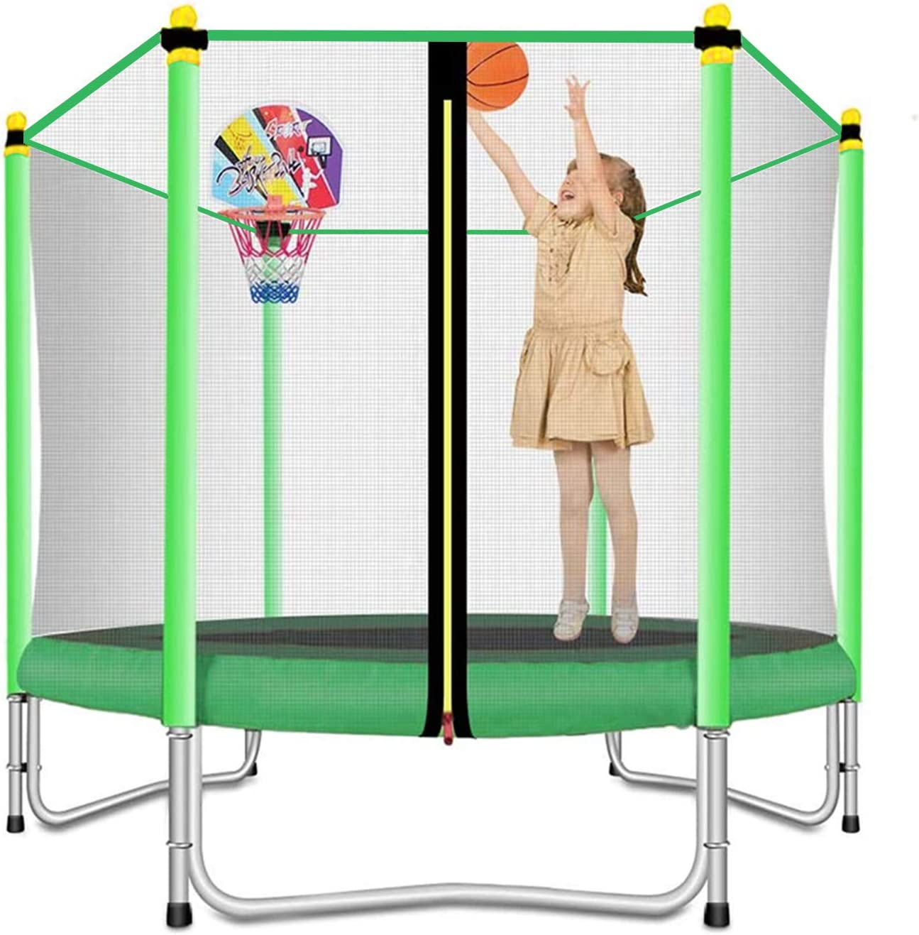 Lovely Snail 5ft Trampoline For Kids With Safety Enclosure Net Basketball Hoop Mini Trampoline For Outdoor Indoor Family Backyard School Entertainment Age 3 10 Sports Outdoors
