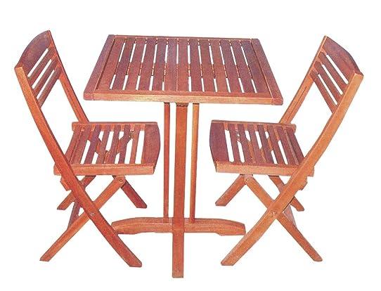 Midland Garden - Petite Table de jardin Balcany, Bois Exotique ...