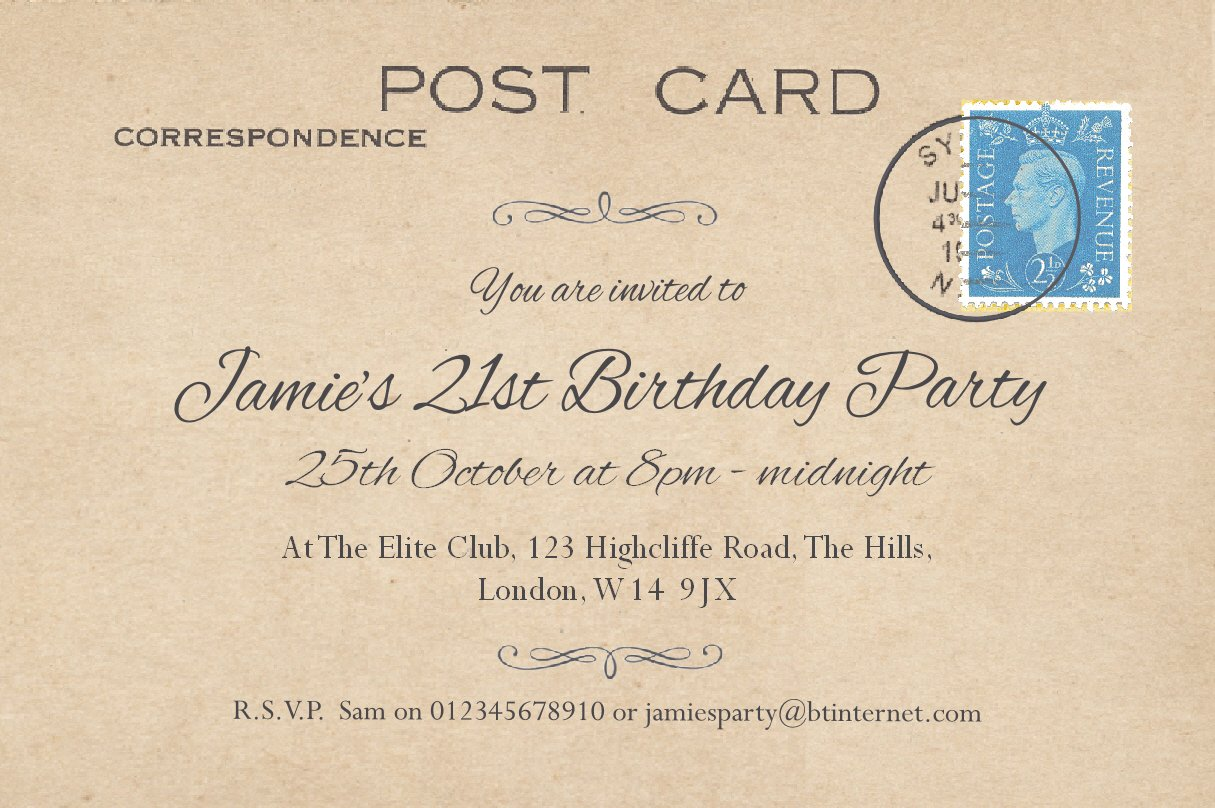 50 BIRTHDAY INVITATIONS Personalised for You. 'Vintage Postcard' Invites for 18th 21st 30th 40th 50th 60th 70th... Post Card Birthday Invitations. Adult Party Invites with Free Envelopes. The Save the Date People Party Invitation
