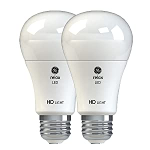 GE Lighting Relax LED HD 10.5-watt (60-watt Replacement), 800-Lumen A19 Light Bulb with Medium Base, Soft White, 2-Pack