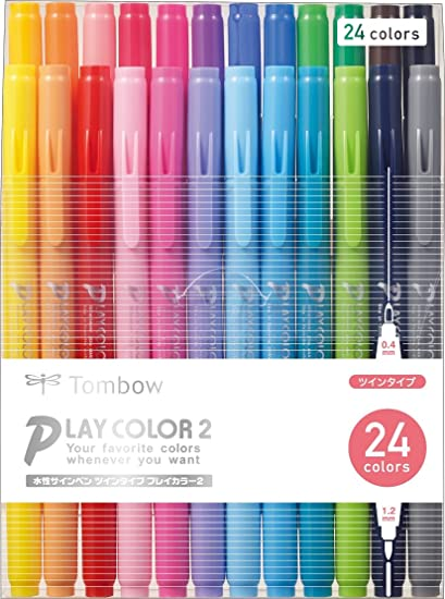 Tombow Play Color Dot Water Based Drawing Marker Pen 12 Color Set GCE-011 Japan