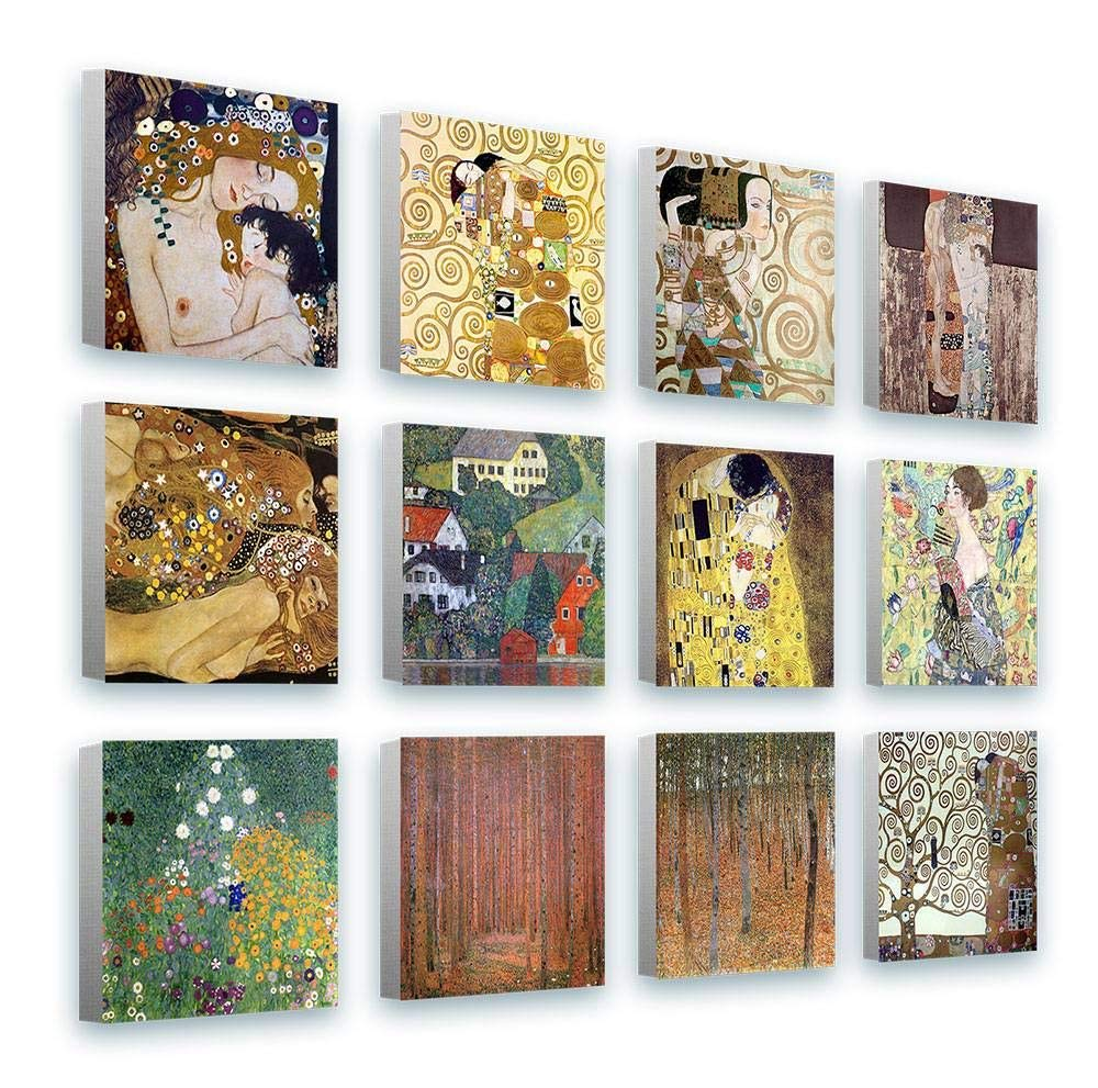 Alonline Art - Kiss Tree Mother Lady by Gustav Klimt | Framed Stretched Canvas on a Ready to Hang Frame - 100% Cotton - Gallery Wrapped | 16''x16'' - 41x41cm | Set of 12 Lot | Wall Art Home Decor HD