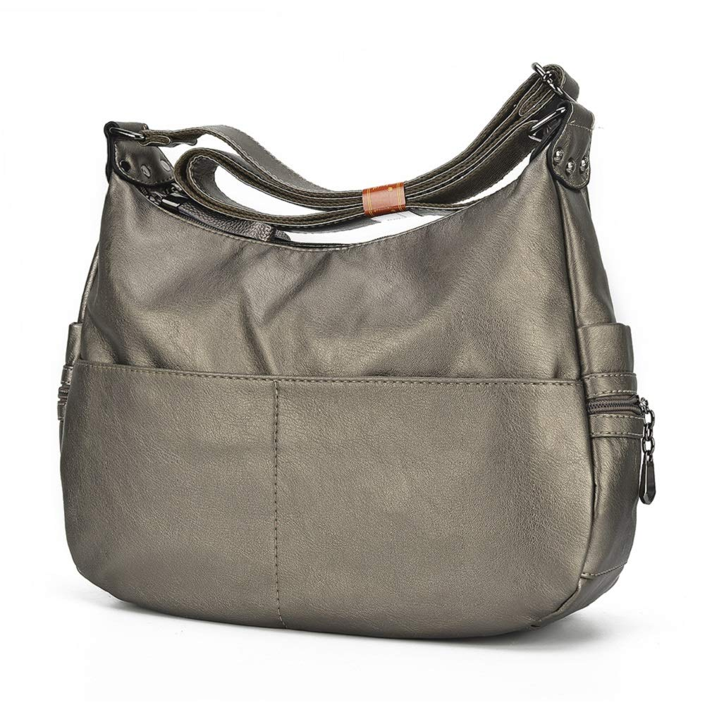 Alovhad Fashion Shoulder Tote Bags Handbag Messenger Hobo Cross Body Bags Purse Soft PU Leather Top Handle Bags for Women (Bronze-Big)