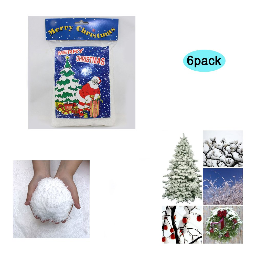 Zinnor Instant Snow Powder, Fake Artificial Snow - Magic Instant Fake Fluffy Snow Super Absorbant for Slime - Best Gifts for Science Activities, Play Dates, Parties, Games, Decoration,Holiday (6PACK)