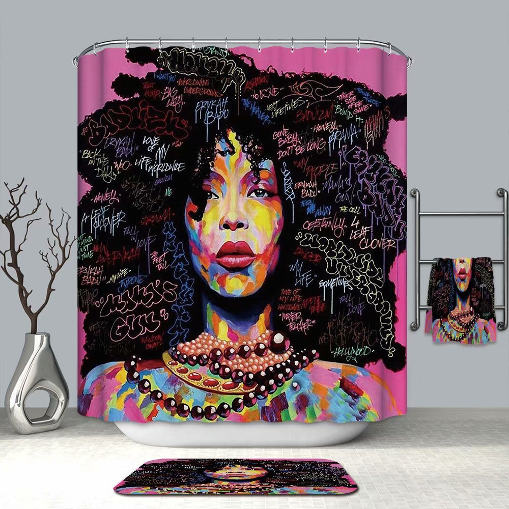 Conelia Shower Curtains,Beautiful India women,Waterproof Mildew Resistant Fabric Bathroom Decor with Hooks, Bathroom Products 72x72