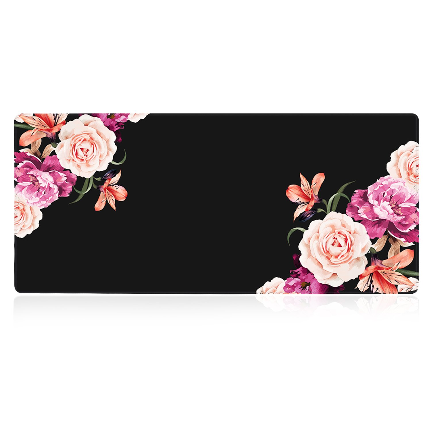 iLeadon Extended Gaming Mouse Pad - Non-Slip Water-Resistant Rubber Base Computer Keyboard Mouse Mat, 35.1 x 15.75-inch 2.5mm Thick XX-Large, Ideal Partner for Work & Game, Peony Flower