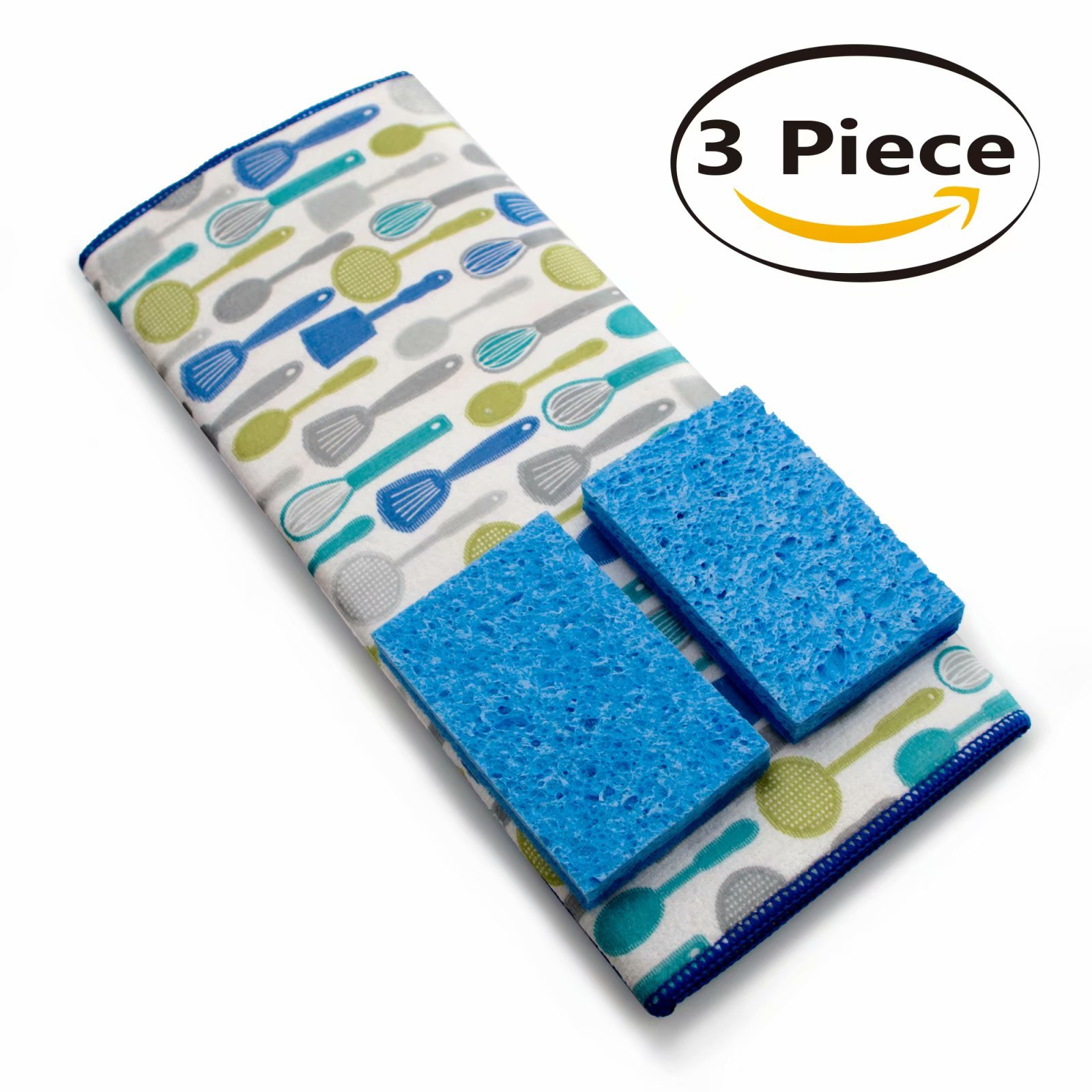 Microfiber Dish Drying Mat - with Absorbent Sponges 19.5x15 inch Blue, AIDEA