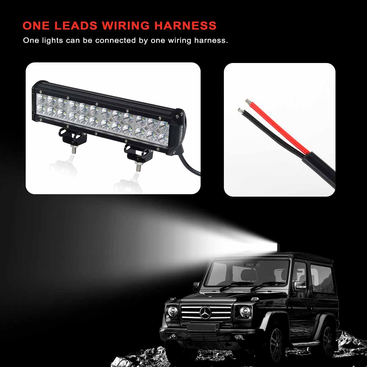 Kawell Led Wiring Harness Include Switch Kit Suppot 300w Off Road Lights On A Jeep Together With How To Wire Light Bar And Waterproof 1 Lead 9ft Automotive