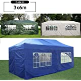 3 x 6m Gazebo Marquee Waterproof Pop Up Awning Garden Party Tent Beige with 6 Side Panels (Four with Windows) and 6 Leg Weight Bags - Choice of Colours