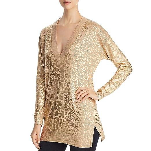 a0a21310ef91 Michael Kors  110 Womens New 1168 Gold Animal Print Metallic Top L B ...