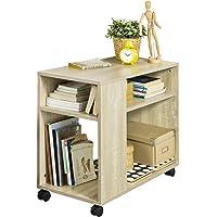 SoBuy® FBT34-N Bout de Canapé Table Café roulante avec 2 étagères de Rangement, 2 Niveaux Bibliothèque à roulettes